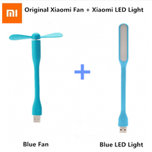 Original Xiaomi Mijia USB Fan + USB LED Light Mini Power-saving Quite Flexible Adjustable USB Cooling Fan Cooler for Power Bank