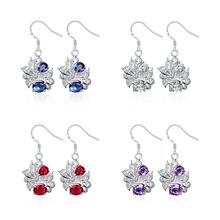 New Blue White Purple Crystal Zircon  Garnet Crystal Zircon  Earrings 925 Sterling Silver Crystal Earrings SPE025A/B/C/D