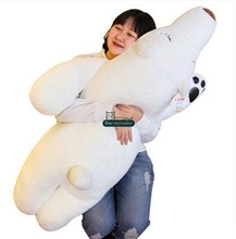 Dorimytrader 110cm Jumbo Lovely Soft Plush Animal Polar Bear Sleeping Pillow 43'' Giant Cartoon Bear Doll Toy Kids Gift DY60487(China)