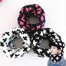 new knitted cross warm baby o ring collar spring winter boys girls solid color scarf children wear scaves kids neckerchief