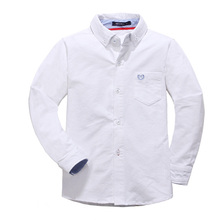 2017 Autumn winter thick Oxford cotton solid baby kids Blouse white boy shirts long sleeves for children boys christmas gift(China)