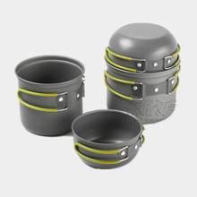 Brand 1-2 Person Portable Lovers Camping Cooking Pot Set Outdoor Team Picnic Cooking Tableware Aluminum Cookware Sets utensils
