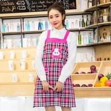 New Fashion Cartoon Cute Animal Home Cotton Aprons Embroidery Korean Shoulder Strap Apron Kitchen Apron With Pocket Avental