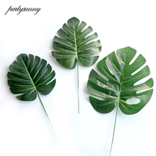 large Artificial Fake Monstera Palm Tree Leaves Para Decoration Mariage DIY Cheap Flowers Arrangement Green Plant Leaf Wholesale(China)