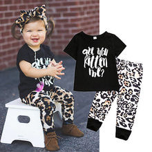summer children clothes 2017 new infant Toddler Kids Baby Girl Short Sleeve Tops+Leopard Pants 2PCS Outfits Set 1-5Y