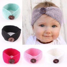 Girls Baby Toddler Crochet Knitted Headwrap Headband with button Winter Warmer Turban Hair Band for Kids Children Accessories