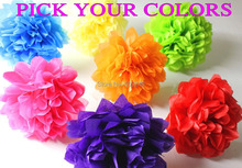 "150pcs 8""(20cm) Mixed Colors Blue Black Green Red Gold Silver Yellow Orange Pink Purple Mint White Tissue Paper Pom Poms Bulk(China)"