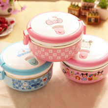 Cartoon Food Container Thermo Lunch Box Stainless Steel Hello Kitty/Deraemon Kids Portable Thermal Bento Lunch Boxes 1D(China)