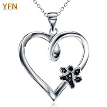 YFN Brand Necklace 925 Sterling Silver Heart Pendants Necklaces With Black CZ Dog Paw Fashion Jewelry Gifts For Women GNX10879(China)