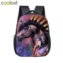 War Horse Backpack Children Cartoon Pony Backpacks Boys Girls SchoolBag For Kindergarten Baby Backpack Kids BookBag