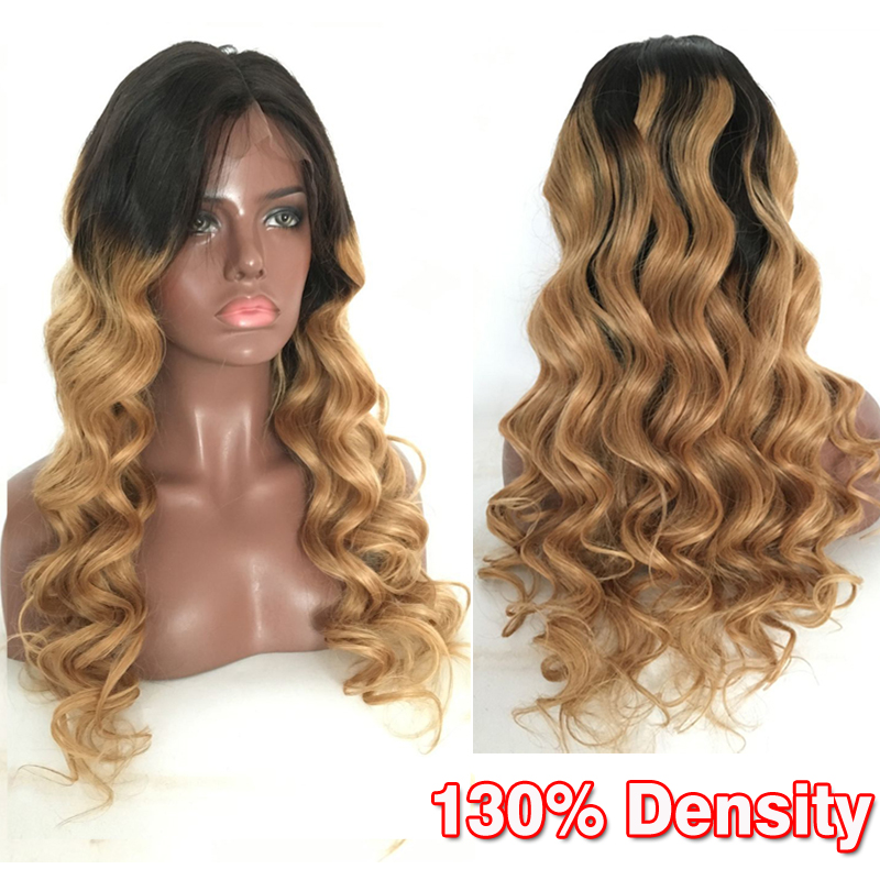 Two Tone Ombre 1b#/27# Full Lace Human Hair Wig With Baby Hair Malaysian Virgin Hair Lace Front Hair Wig Ombre Color Middle Part<br><br>Aliexpress