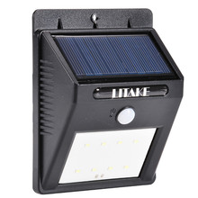 LumiParty Solar Powered LED Motion Sensor Light Bright 8 LED Wall Lamp with Motion Activated Outdoor Path Security Spot Lighting