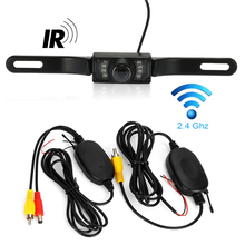 Car Waterproof IR Night Vision Car Rearview Camera 7 LED + Wireless Transmitter & Receiver Rear View Camera Free shipping(China)