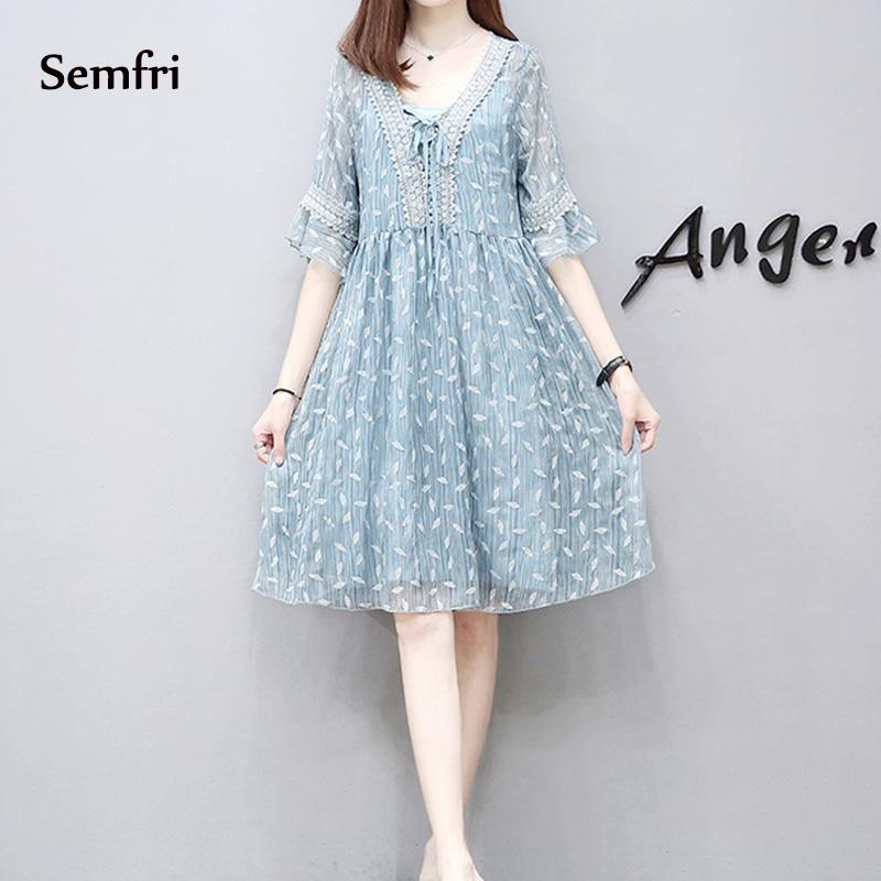 Semfri Blue Printed Chiffon Dress Women Summer Sexy V Neck Short Sleeve Dress Plus Size 5xl Ladies Sweet Clothes Streetwear 2019 9 Online shopping Bangladesh