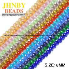 JHNBY Natural Stone Cat's eye Stone Loose beads Round Opals glass ball Chatoyant stone 8MM 50PCS Jewelry bracelet Making DIY()