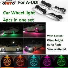 Hot selling Car wheel lights flash lights colorful light wind wheel lights decorative motorcycle tires lamp for A1/A2/A3/A4A5/A6
