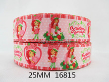 "(5yds per roll) 5Y16815 free shipping 1"" strawberry grosgrain printed ribbon Garment accessories Hair ribbon picture color(China)"