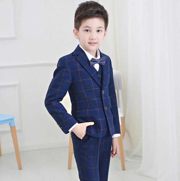 2016 England Style lattice Children Suit Boys Wedding Suits Flower Girl Dresses Blazer Boys Formal Suit Boys Suits For Weddings