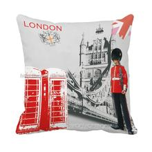 London city with telephone booth printed  home decorative Euro grey cushion covers vintage decorative pillow case 45x45cm