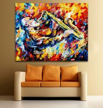 Oil Print Palette Knife Printed Jazz Musicians Impressive Performance Picture Printed On Canvas Modern Home Decoration Wall Art(China)