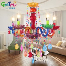 GMTM Hot luminaire NEW Art decoration Colorful glass led crystal chandeliers living room bedroom restaurant hotel bed chandelier(China)