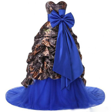 2017 Camo A Line Wedding Dress Royal Blue Tulle Skirt Sweetheart Country Style Camouflage Bridal Wedding Gowns with Bow HS322
