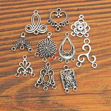 10pcs Mixed Antique Silver Plated Connector Charms Pendants for Bracelet Jewelry Making Accessories Craft diy handmade Findings(China)