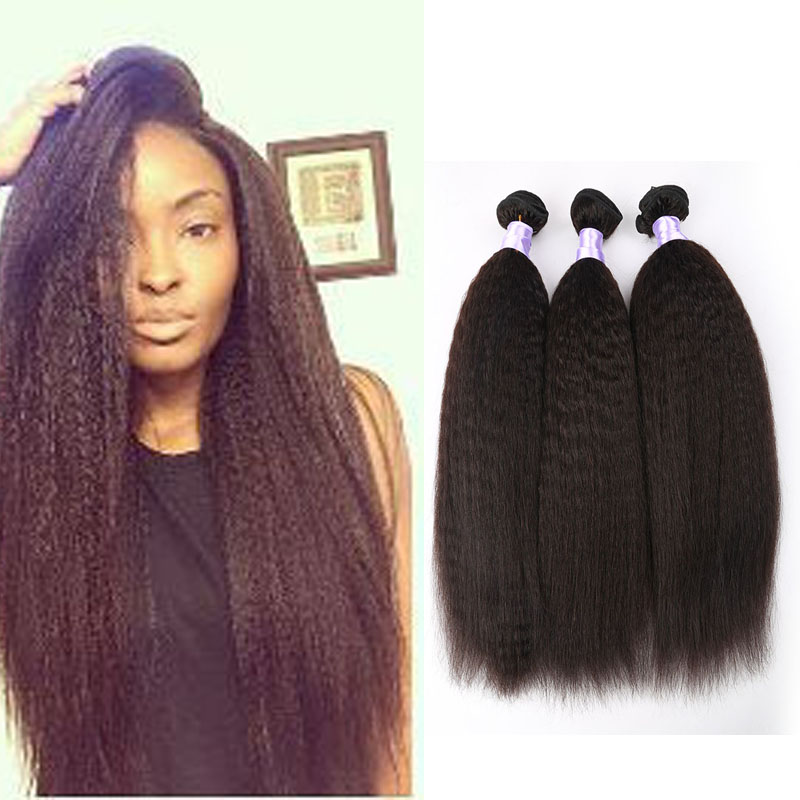 Brazilian Virgin Hair Kinky Straight Hair 3 Bundles Yaki Human Hair 100% Unprocessed Brazilian Hair Weave Bundles<br><br>Aliexpress