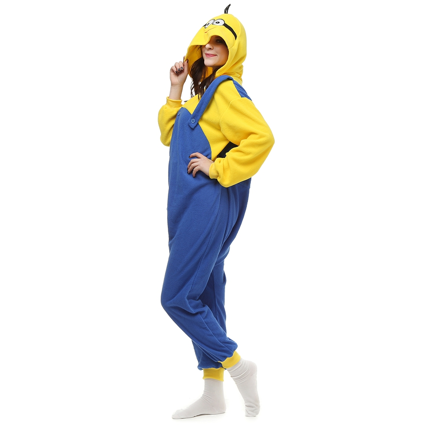 Adults-Polar-Fleece-Kigurumi-Minion-Cosplay-Costume-Cartoon-Animal-Onesie-Pajamas-Halloween-Carnival-Masquerade-Party-Jumpsuit