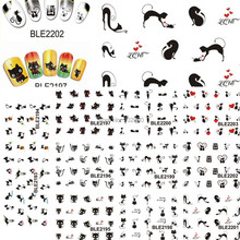11pcs New Lovely Cartoon Cat Nail Stickers Water Transfer French Tips Manicure Pedicure DIY Stencils Watermark TRBLE2193-2203