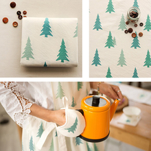 145cm X50cm Linen Cotton Cloth Christmas Decoration  Fabric Diy Curtain Antependium Sofa Thick Green Pine Trees 390g/m