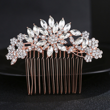 Buy Hair Comb Bridal Rhinestone Rose Gold Hair Piece Wedding flower Design Hair Accessory HX4098 for $4.92 in AliExpress store