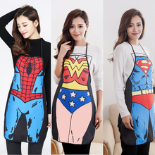 1pcs Funny Apron Novelty Sexy Dinner Party Superman Cooking Apron Wonder Woman Men Apron Helper