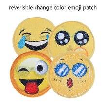 2018 NEW emoji Reversible Change color Sequins Patch for clothes DIY Patch  Applique Bag Clothing Coat 018a6f50555f