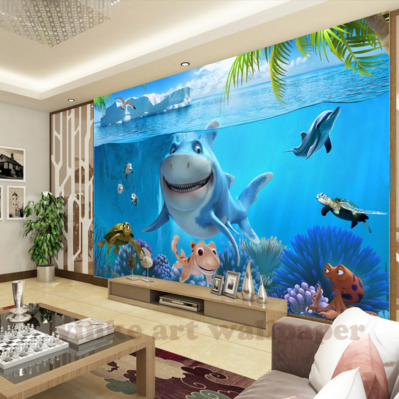 HTB1.tELXE1HTKJjSZFmq6xeYFXar - Custom 3D Mural Wallpaper Non-woven children Room wall covering Wall paper 3d stereo sea world 3D kid Photo Wallpaper Home Decor