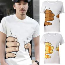 2017 Summer Brand New Men 3D Big Hand Short Sleeve Cotton T Shirt Breathable O Neck Fashion Tops Tee Funny Tshirt homme Cheap Z1