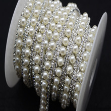 costume pearls rhinestone applique trims silver  base sewing accessories  for party&wedding  dress 1 yard