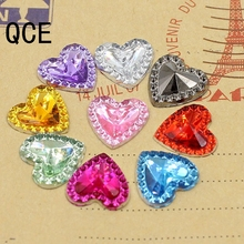 Free Shipping 100pcs/Lot 12mm Multicolor Heart Shape Design Acrylic Rhinestone, Crystal Cabochons, Jewelry Accessories For Diy(China)
