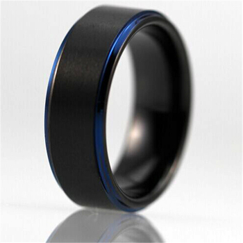 Free Shipping Customs Engraving Ring Hot Sales 8MM Black Matte Center Blue Steps Comfort Fit Design Men's Tungsten Wedding Ring
