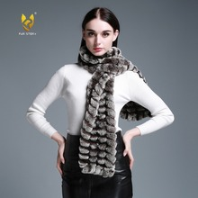 Fur Story 050102B Long Real Rex Rabbit Fur knitting Scarf Neck Warmer Scarves Shawl Poncho Stole great christmas gift(China)