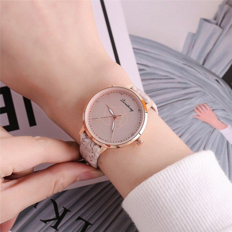 High Quality women fashion casual watch luxury dress ladies Leather Band Analog Quartz Round Wrist Watch clock bracelet M21 (22)