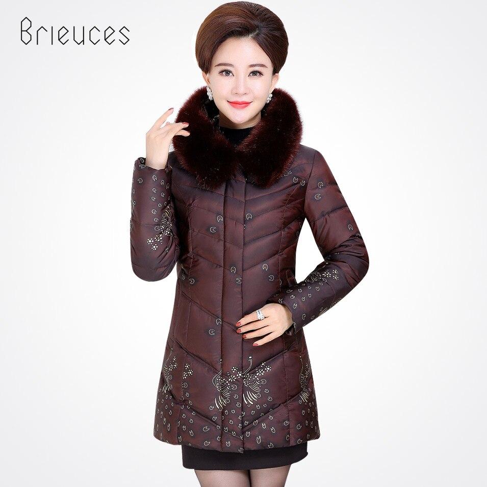 Brieuces 2017 new plus size print hooded faux fur collar winter jacket women fashion long parkas keep warm winter coat womenÎäåæäà è àêñåññóàðû<br><br>