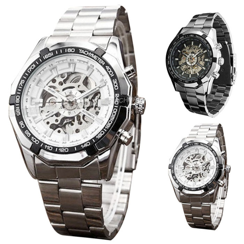 NEW Fabulous Steampunk Clock Mens Automatic Mechanical Men Wrist Watch Military Style Men Wristwatches Drop Shipping #0217<br><br>Aliexpress