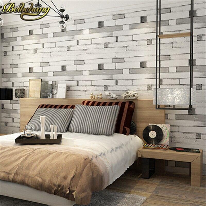 beibehang 3D wallpaper PVC Wall paper wood brick stone design Wallcovering stripe pattern Papel De Parede vintage papier peint<br>