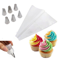 6PC Russian Nozzle Cake Dessert Decorators Icing Piping Bag Cream Pastry Tips With Nozzles Converter Topper DIY Baking Tools(China)