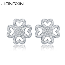 JiangXin Lucky Four Leaf Clover 925 Sterling Silver Rhinestone Diamond Earring Studs Nice Flower Zirconia Girl's Jewelry Gift(China)