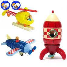 A TOY A DREAM Magnetic Removal Of Assembly Model Aircraft, Rockets Helicopter Three Figures Children'S Educational Wooden Toys(China)
