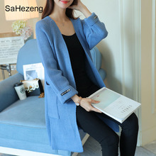 SaHezeng Elegant Ladies Long Sweaters Cardigans  Autumn Casual  Women Outerwear Open Stitch Flat Knitted Female Sweater KC18