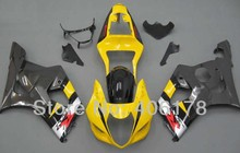Hot Sales,K3 GSXR1000 03 04 For Suzuki Fairings GSXR 1000 2003 2004 GSX-R1000 Yellow and Gray Sport Body Kit (Injection molding)