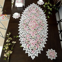 Special offer PINK rose High-end luxury embroidery cloth art The table cloth Table flag Table mat Dust cover towel 1pc(China)